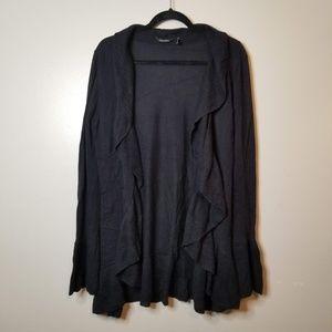 Daisy Fuentes Black Onyx Sweater w/ Ruffles Sz M